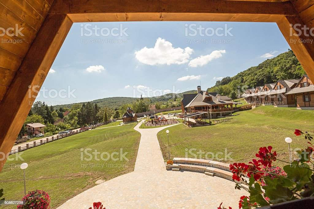Terrace view from a mountain cottage stock photo