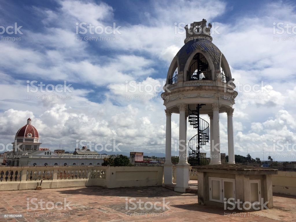 Terrace view with cloudscape, Cienfuegos stock photo