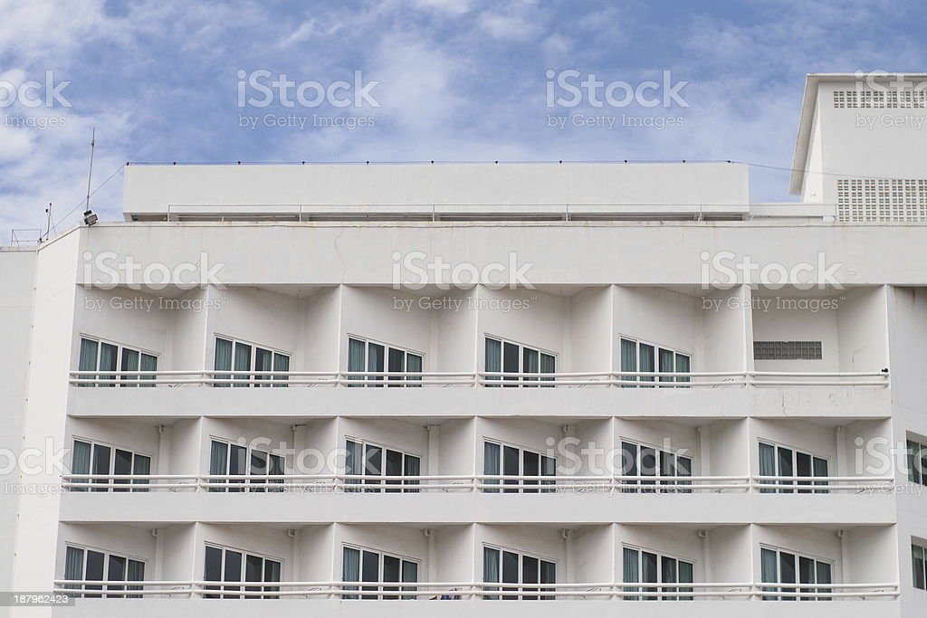 Terrace white hotel stock photo