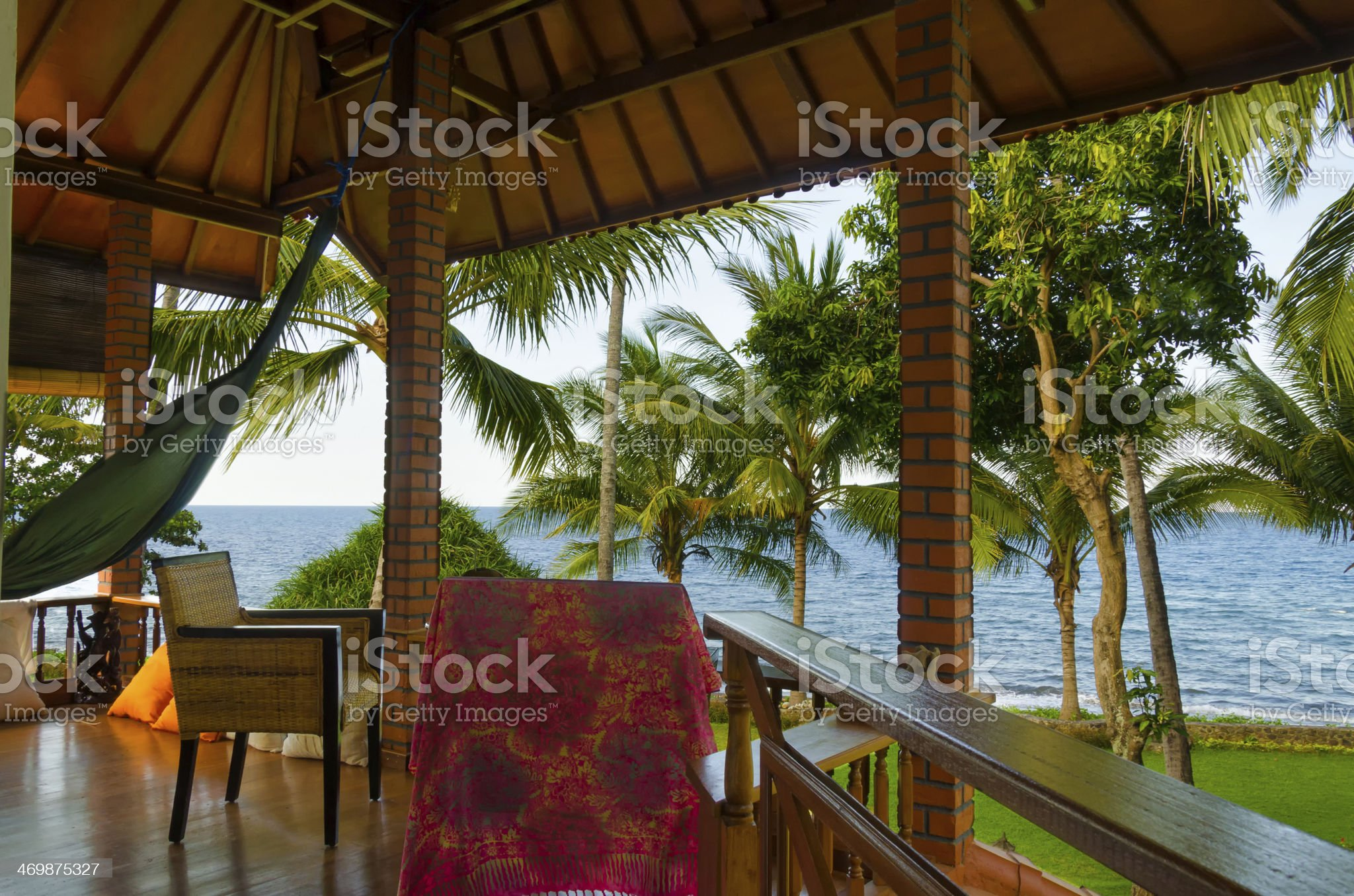 terrace with hammock in front of jungle royalty-free stock photo