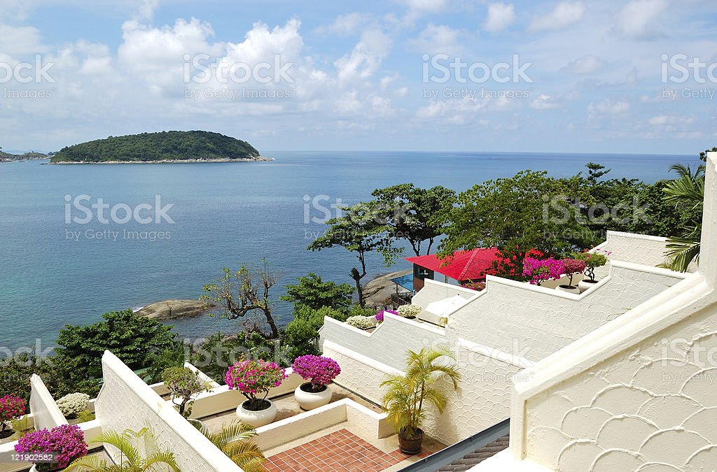 Terrace with sea view at luxury hotel, Phuket, Thailand royalty-free stock photo