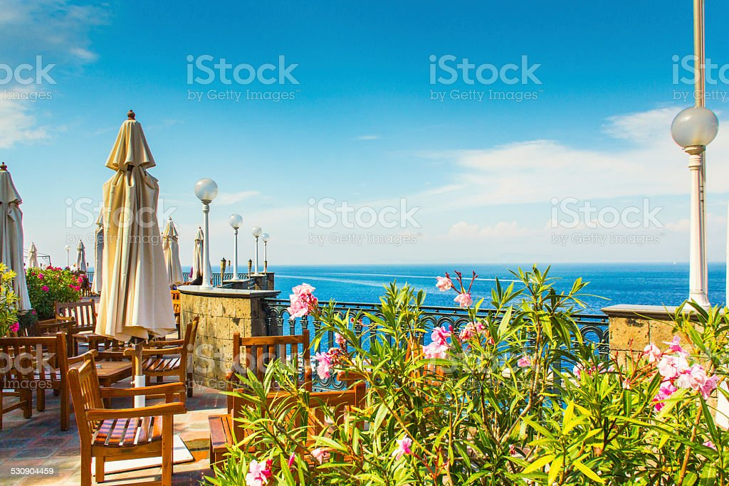 Terrace with view on Amalfi's coast stock photo
