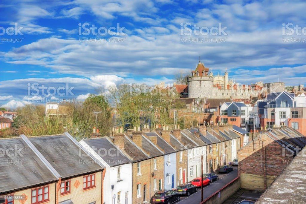 Terraced homes in Windsor, UK stock photo