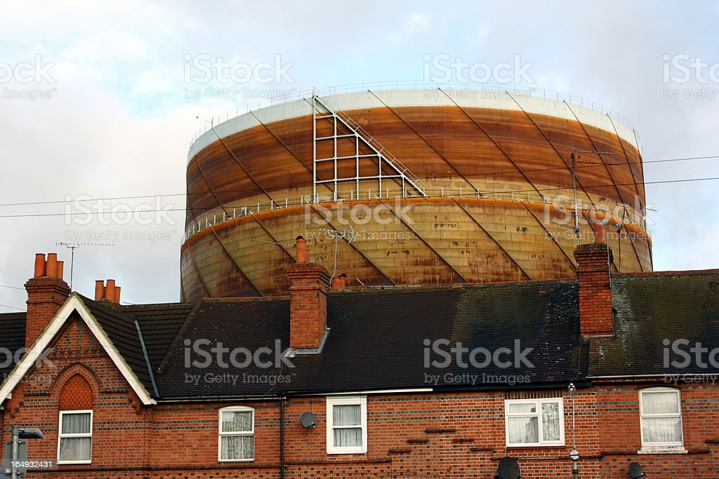 Terraced Houses and a Gasometer royalty-free stock photo