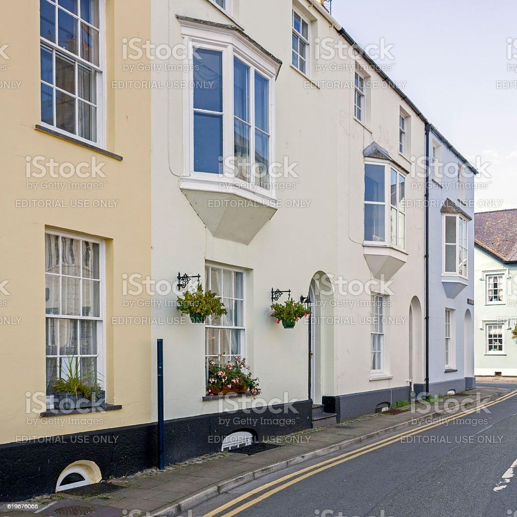 terraced Houses, Beaumaris, Anglesey, North Wales stock photo