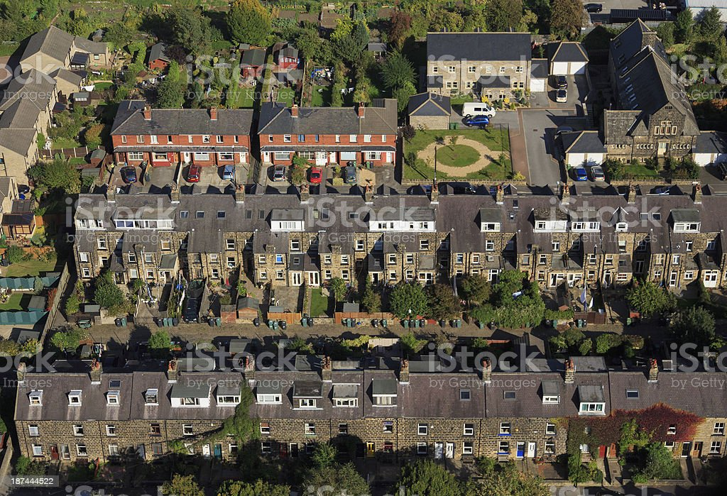 Terraced houses from the air stock photo