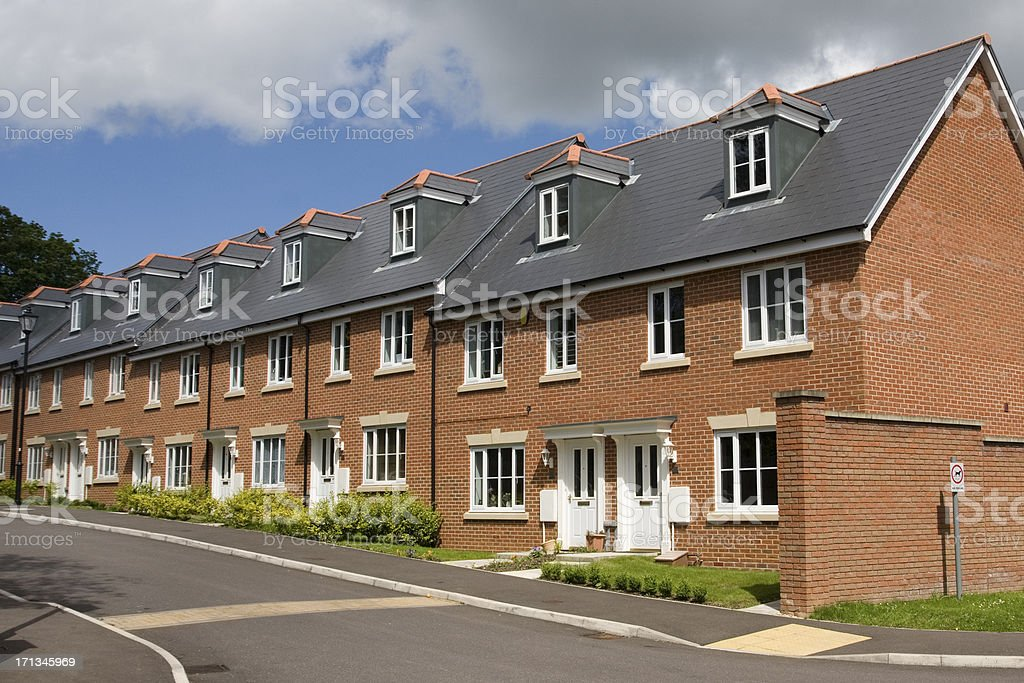 Terraced houses in England stock photo
