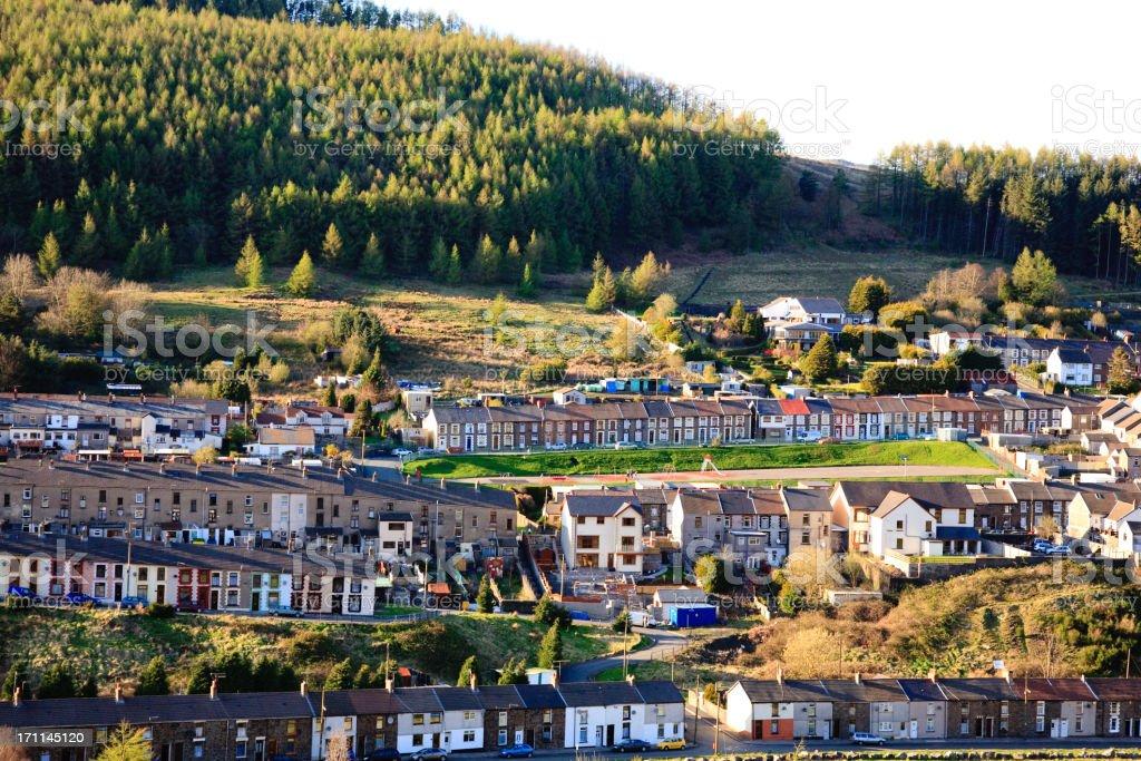 Terraced houses in Rhondda, Wales stock photo