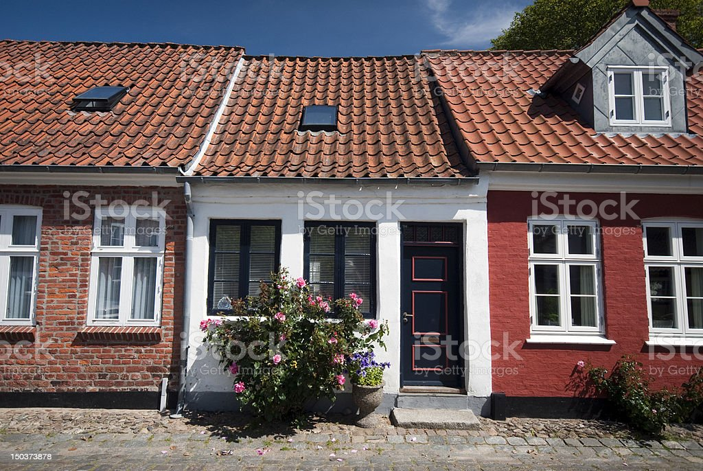 Terraced houses in Ribe stock photo