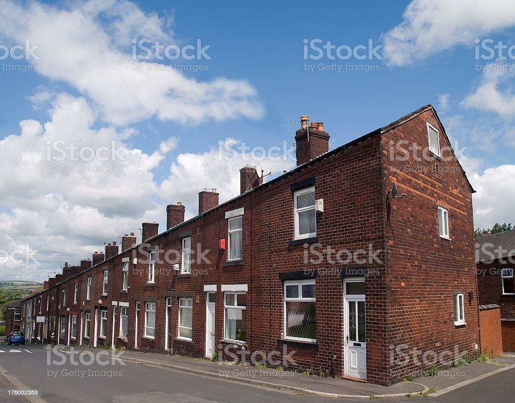 Terraced houses on a Lancashire town hill stock photo