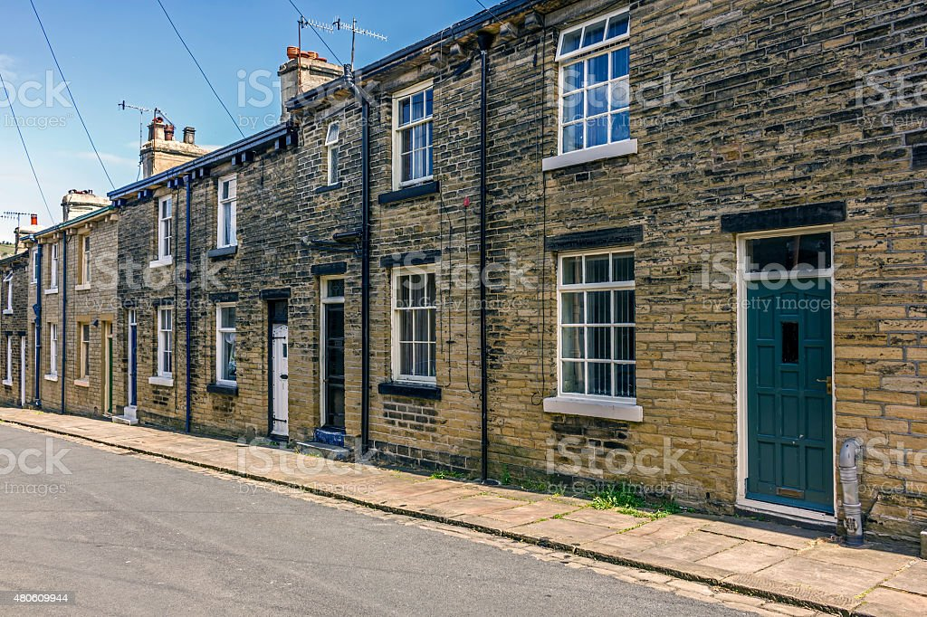 Terraced Houses Saltaire Yorkshire stock photo