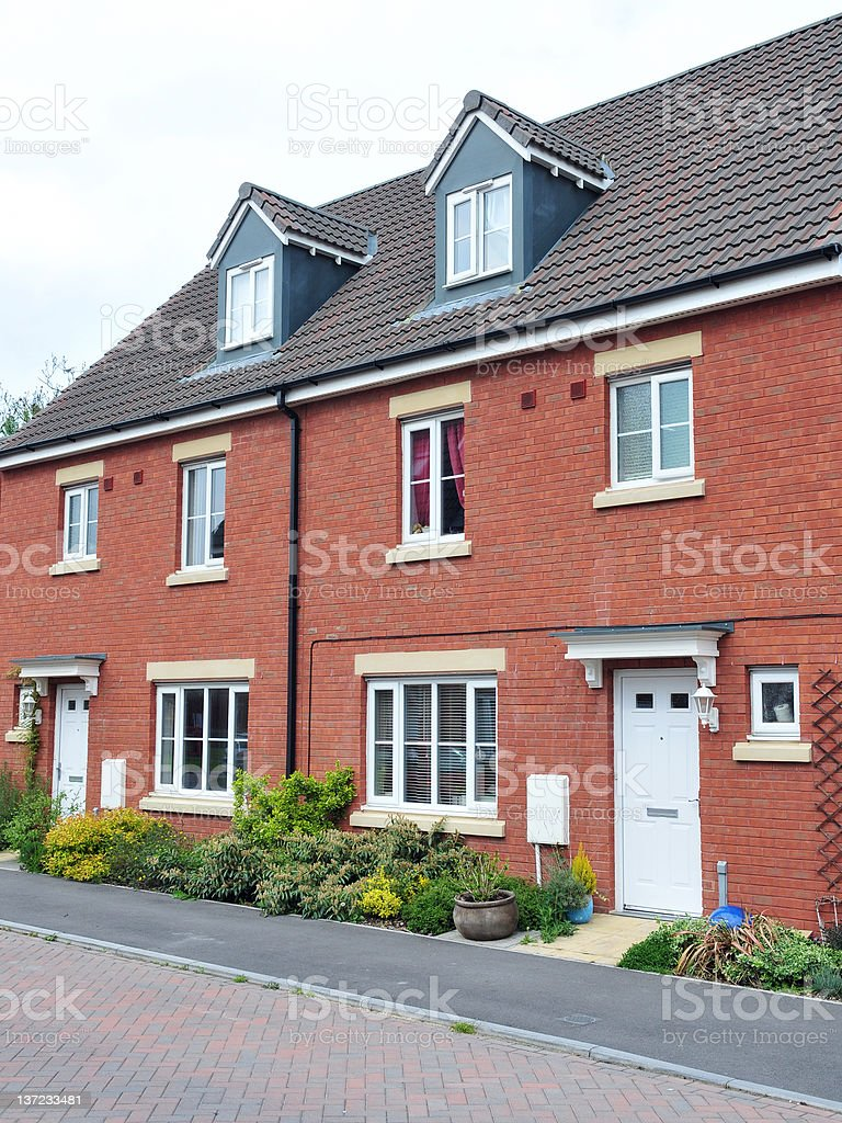 Terraced Red Brick Houses royalty-free stock photo