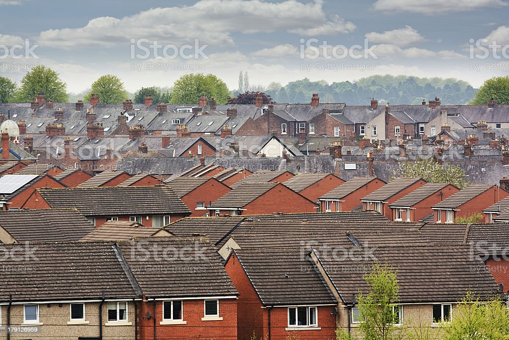 terraced roof tops stock photo