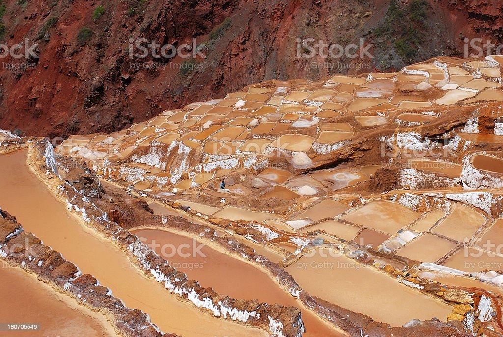 Terraced salt basins, Peru royalty-free stock photo