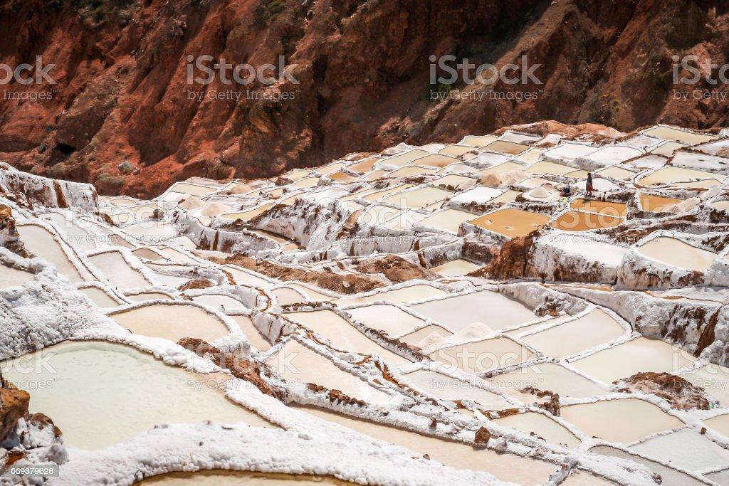 Terraced Salt Mine stock photo