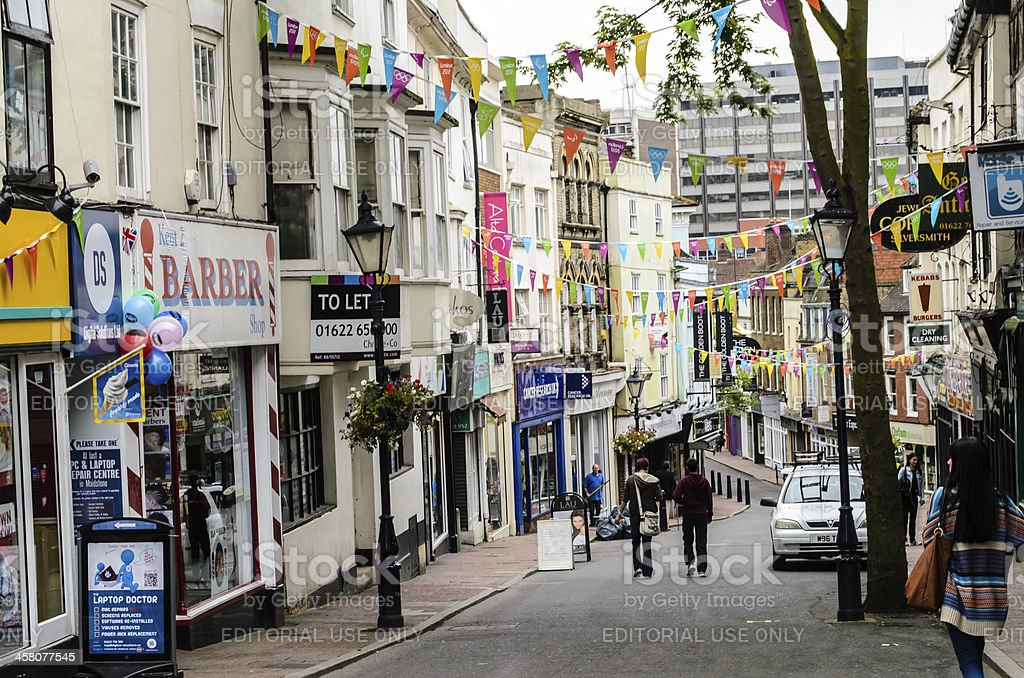 Terraced Victorian Shops in England stock photo