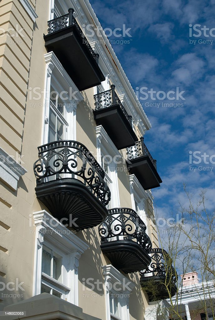 Terraces and Blues Skies of Charleston royalty-free stock photo