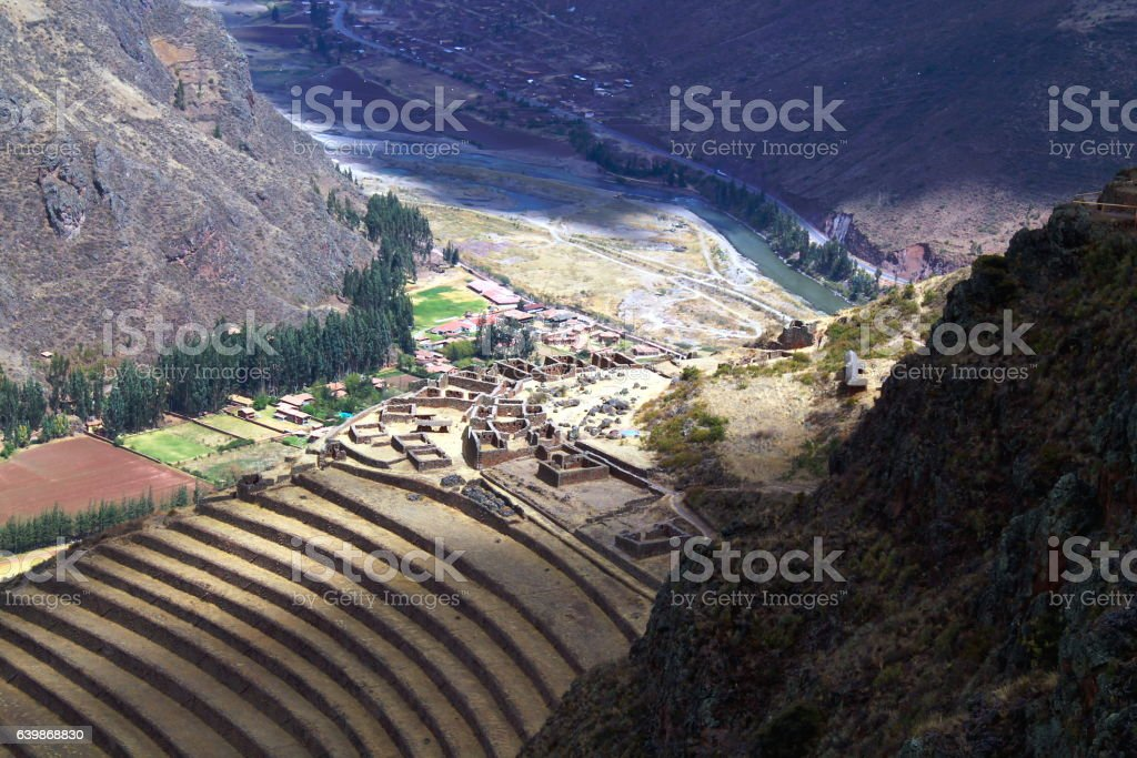terraces and ruin complex of pisaq with calley panorama stock photo