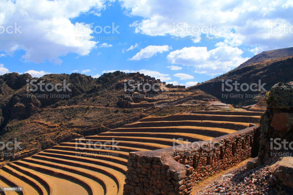 terraces and ruins of pisaq in the sacred valley stock photo