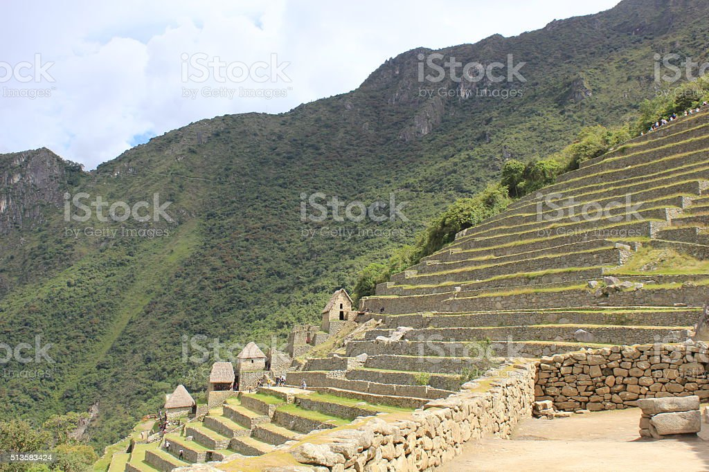 Terraces of Machu Picchu stock photo