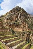 Terraces of Pumatallis at the Inca Fortress in Ollantaytambo, Pe
