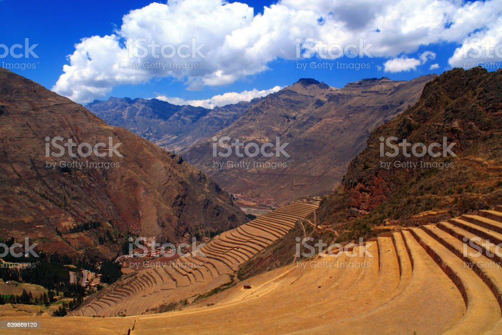 terraces of the inca ruins of oisaq in sacred valley stock photo