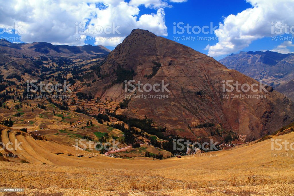 terraces of the inca ruins of pisaq in sacred valley stock photo