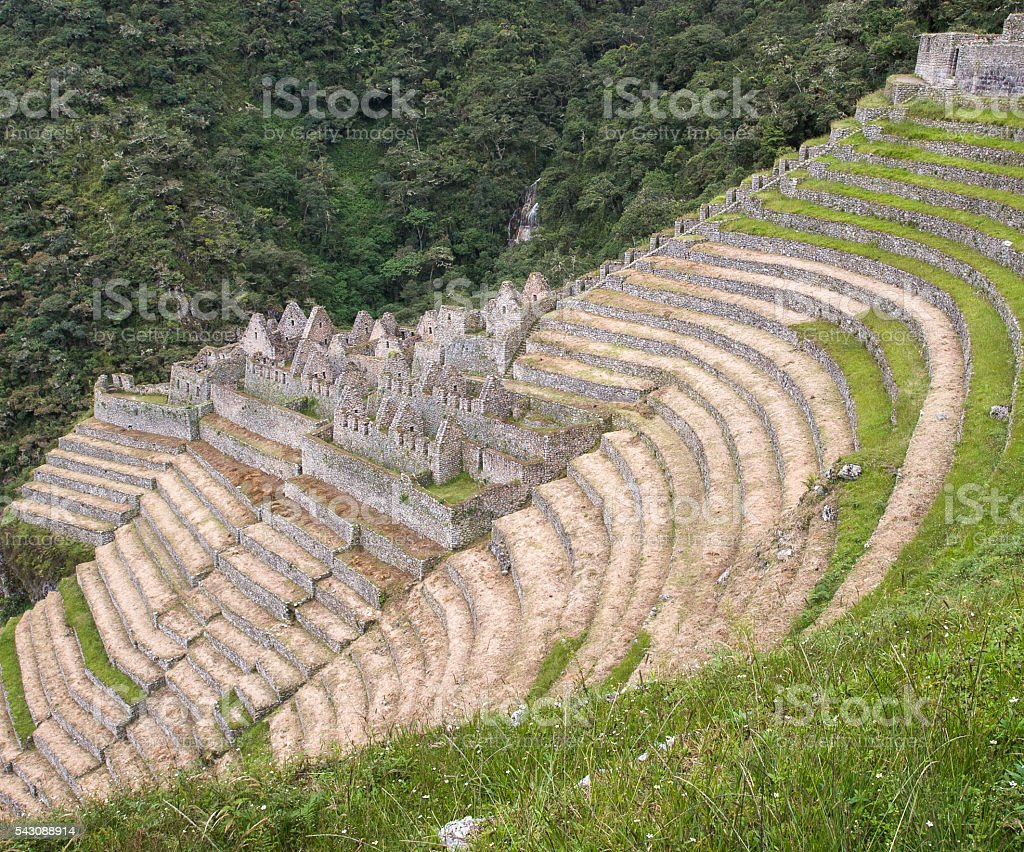 Terraces of Winay Wayna on the Inca Trail stock photo