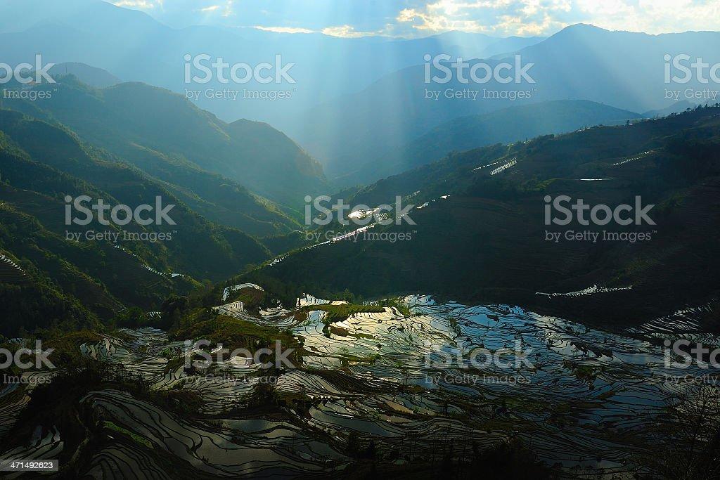 terraces sunset glow royalty-free stock photo