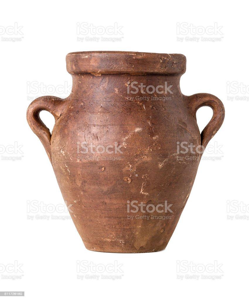 Terracotta amphora on a white background stock photo