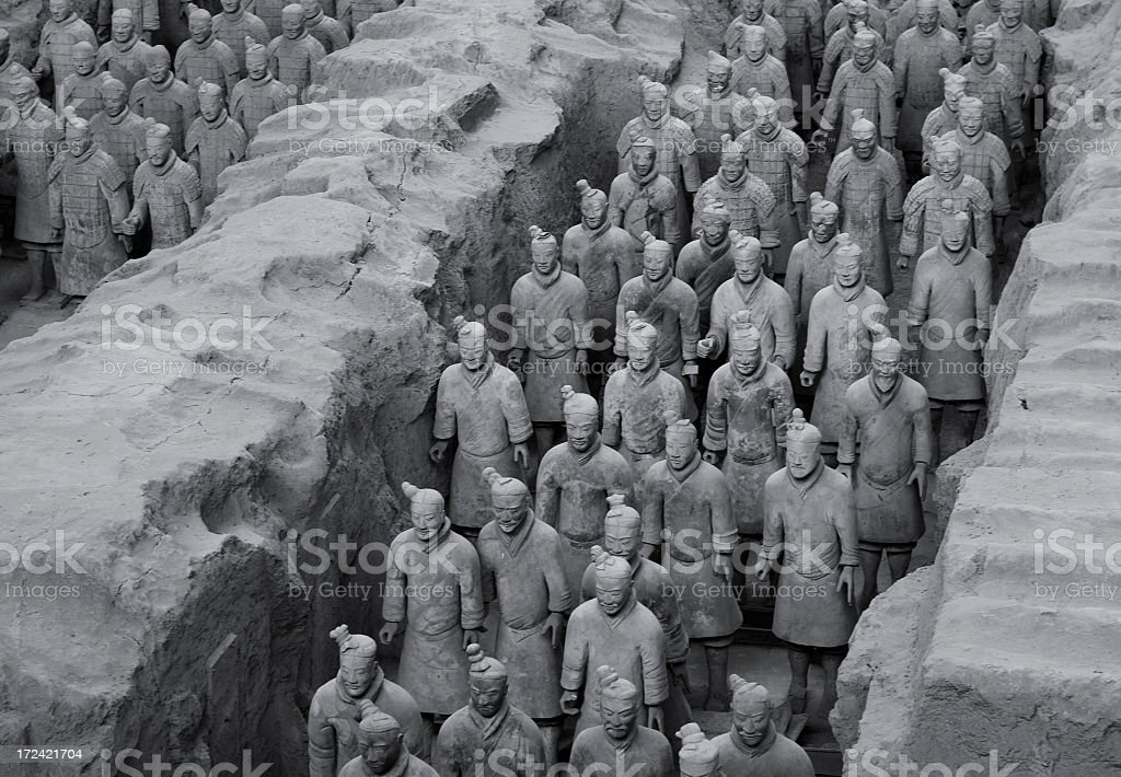 Terracotta Army in Black and White royalty-free stock photo