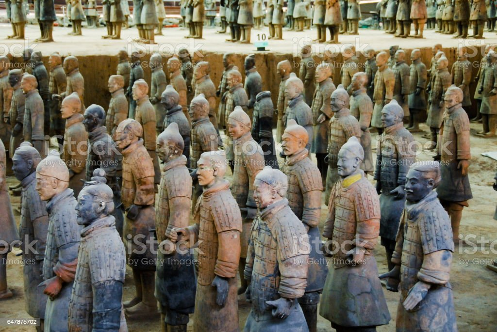 Terracotta Army in Mausoleum of the First Qin Emperor in Xian, China stock photo