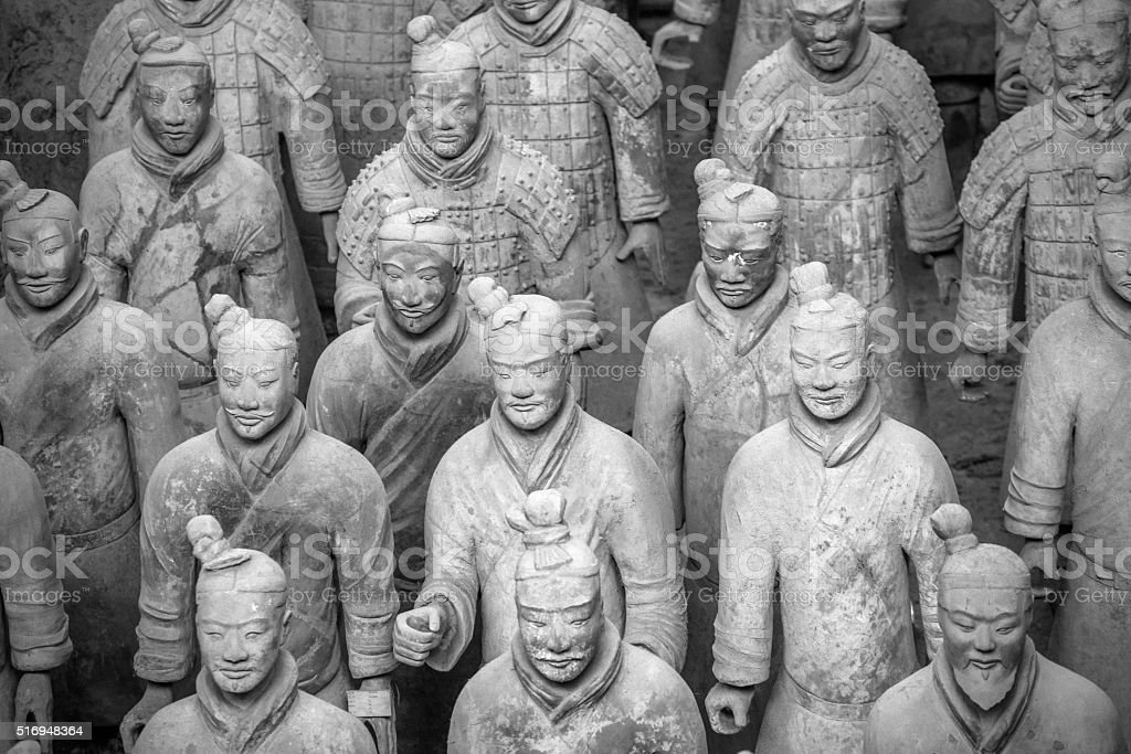 Terracotta Army in Xian, China, BW stock photo