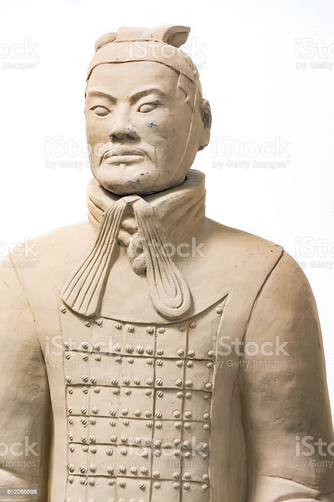 Terracotta Army Soldier Standing Statue Historical Isolated Back stock photo