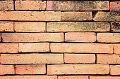 Terracotta brick wall in vintage retro color style