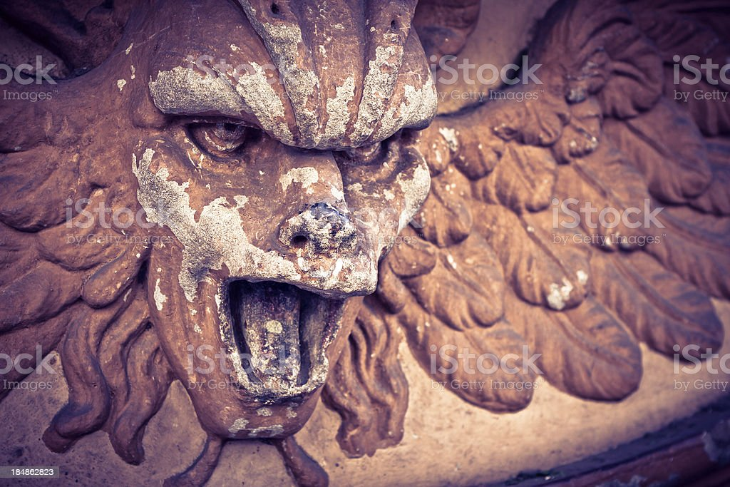 Terracotta Daemon Statue, Old Exterior Decoration royalty-free stock photo