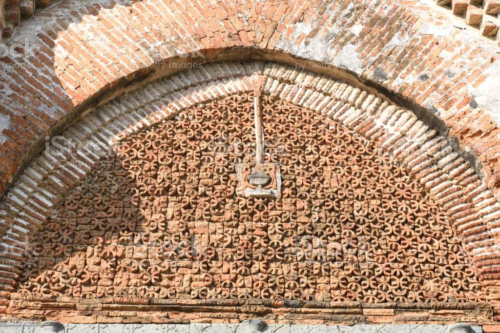 Terracotta  Detail on the wall stock photo