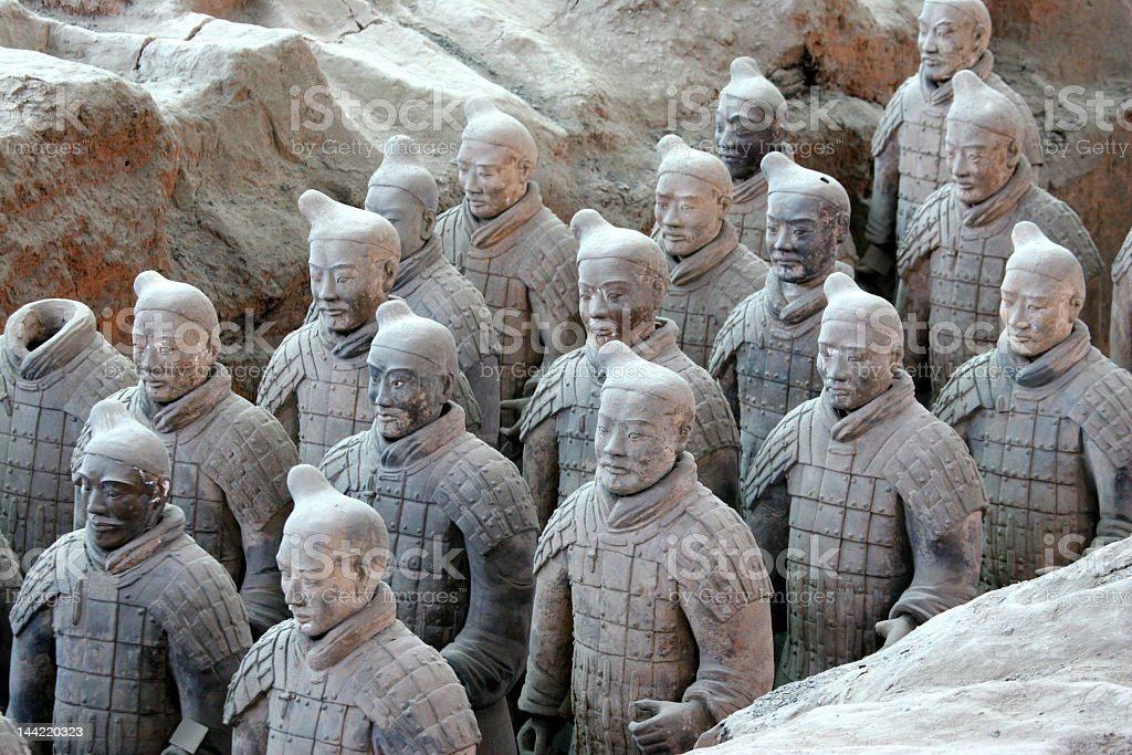 Terracotta display of ancient Chinese warriors stock photo