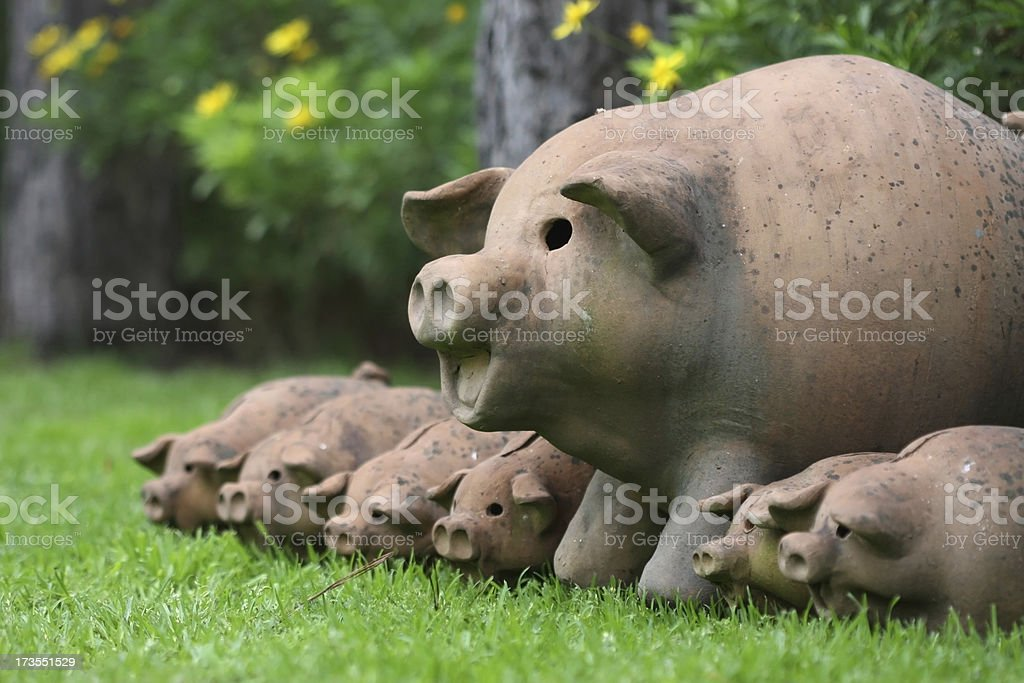 Terracotta Pig Family royalty-free stock photo