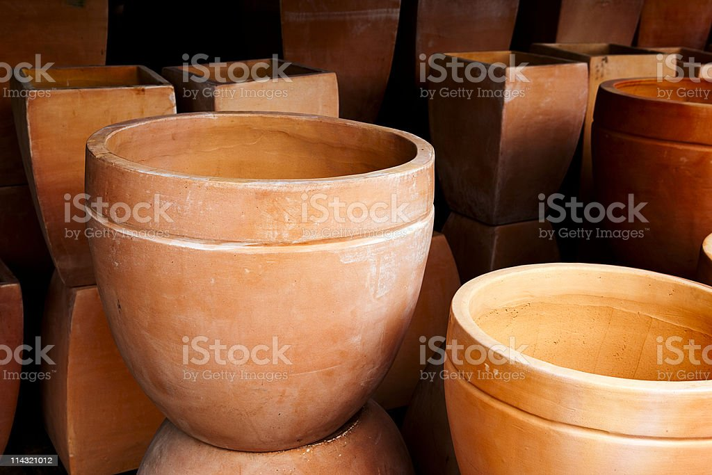 Terracotta plant pots royalty-free stock photo