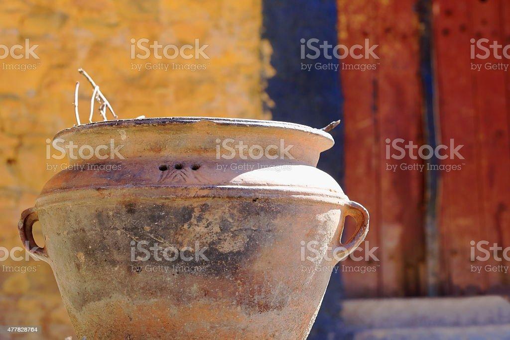 Terracotta plantpot. Drak Yerpa-Tibet. 1518 stock photo