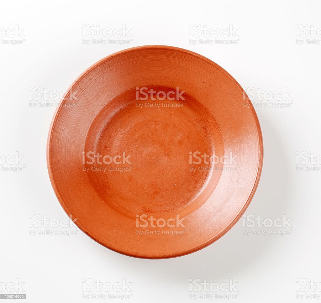 Terracotta plate stock photo