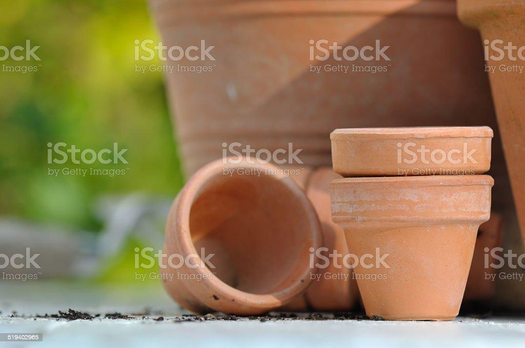terracotta pots stock photo