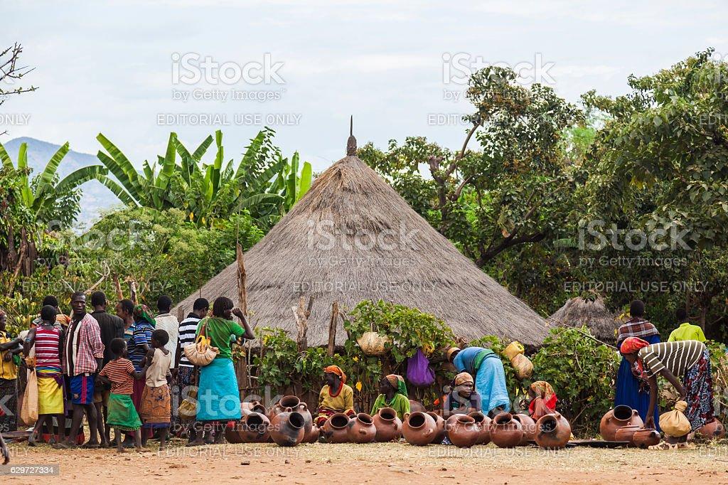 Terracotta pots stalls at local village market. Bonata. Omo Vall stock photo