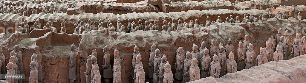 Terracotta warrior army panorama Xi'an China royalty-free stock photo