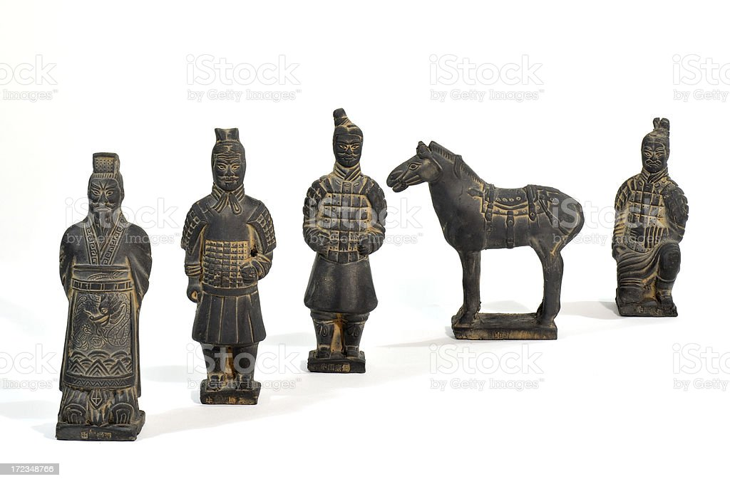 Terracotta Warrior figures with isolated white background royalty-free stock photo