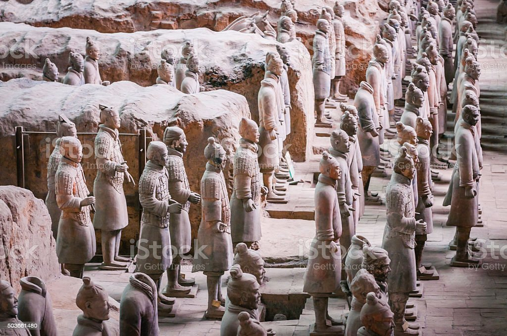 Terracotta Warriors ancient army guarding Emporer's tomb Xi'an China stock photo