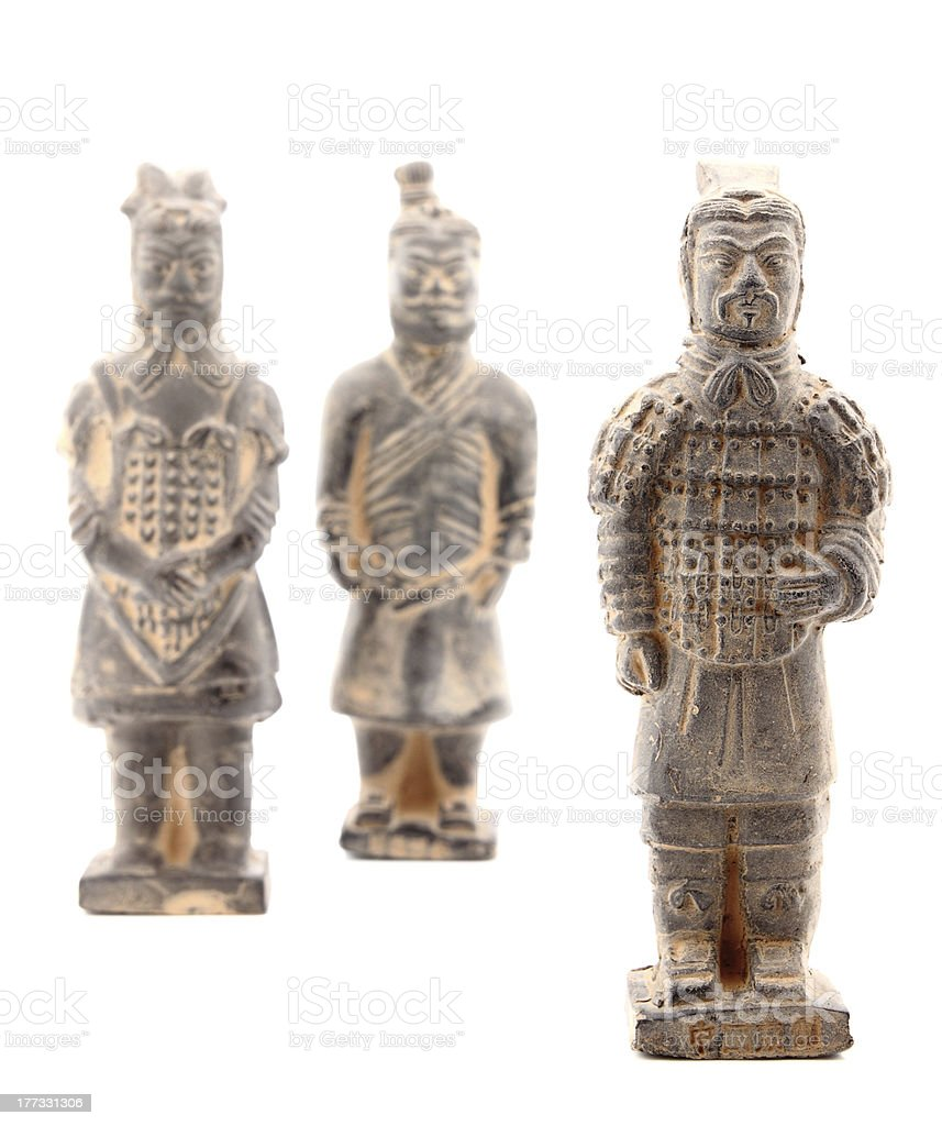 Terracotta warriors isolated on white royalty-free stock photo
