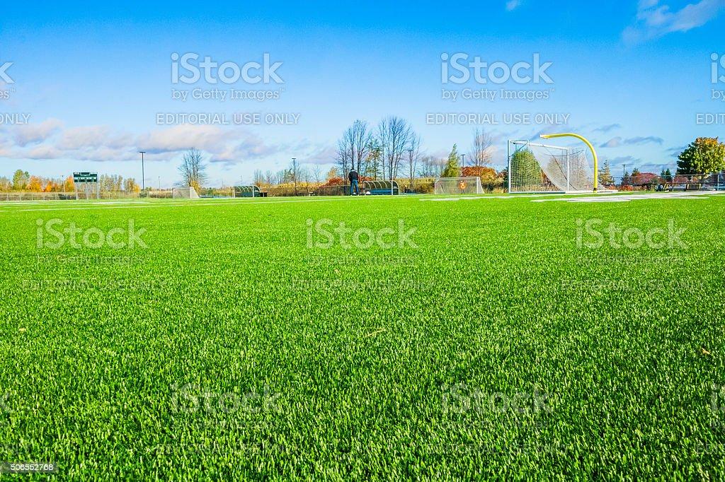 Terrain de soccer surface synthétique stock photo
