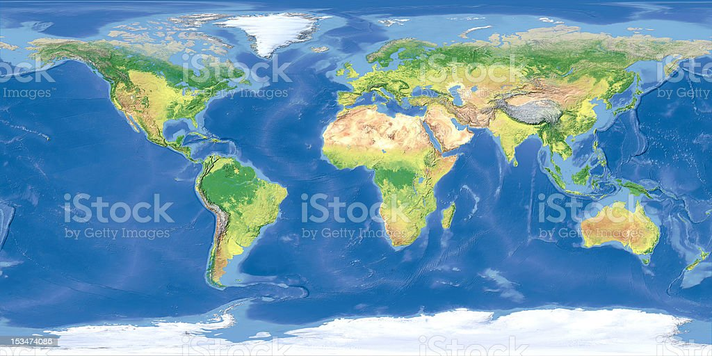 Terrain map of the world from satellite view stock photo